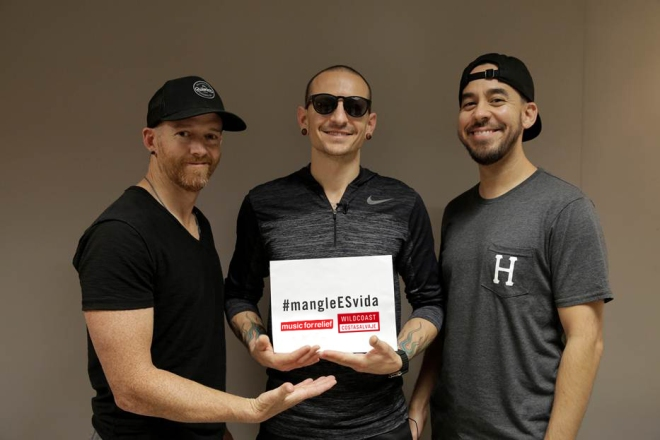 Linkin Park members Dave Farrell, Chester Bennington, and Mike Shinoda show their support for Music for Relief and WILDCOAST's #mangleESvida campaign.