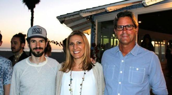 Brad Delson of Linkin Park, Whitney Showler of MFR, and Serge Dedina of WILDCOAST at the MFR Mangrove/Ocean Campaign Launch in Venice Beach.
